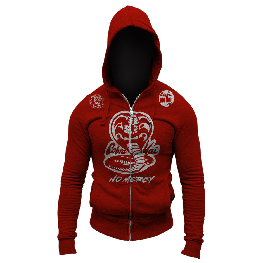 Cobra Kai No Mercy 80's Movie The Karate Kid Youtube Show Adult Full Zip-Up Hoodie Sweatshirt Red