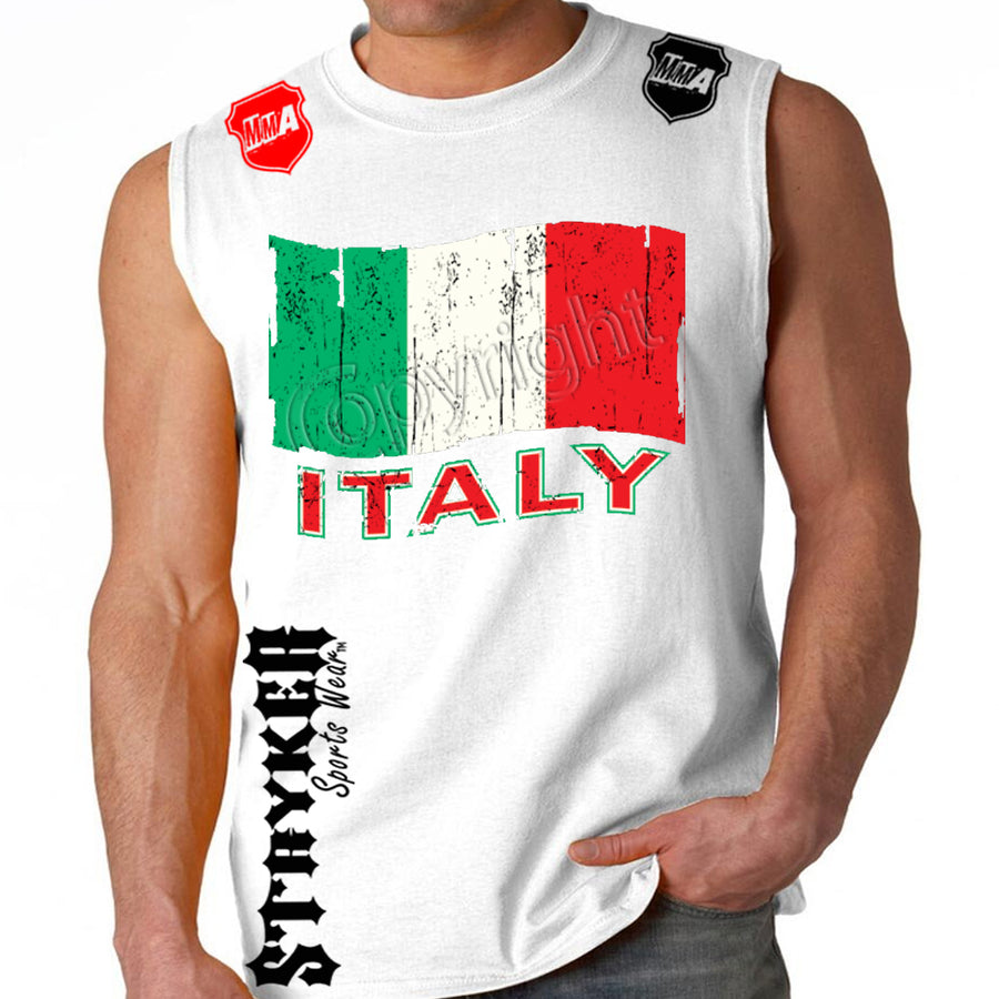 ITALY SOCCER MMA MENS MUSCLE SHIRT White