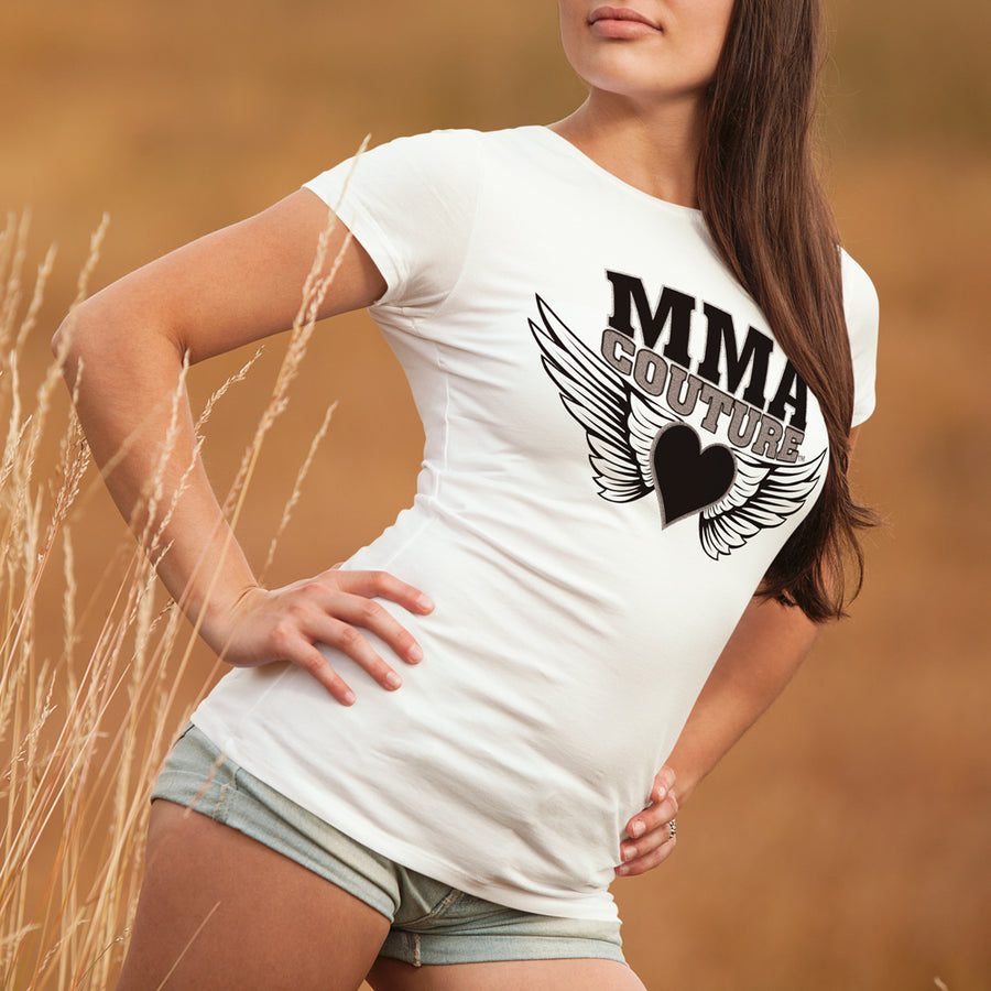 MMA COUTURE HEARTS OF WINGS WOMANS BABY DOLL SHIRT
