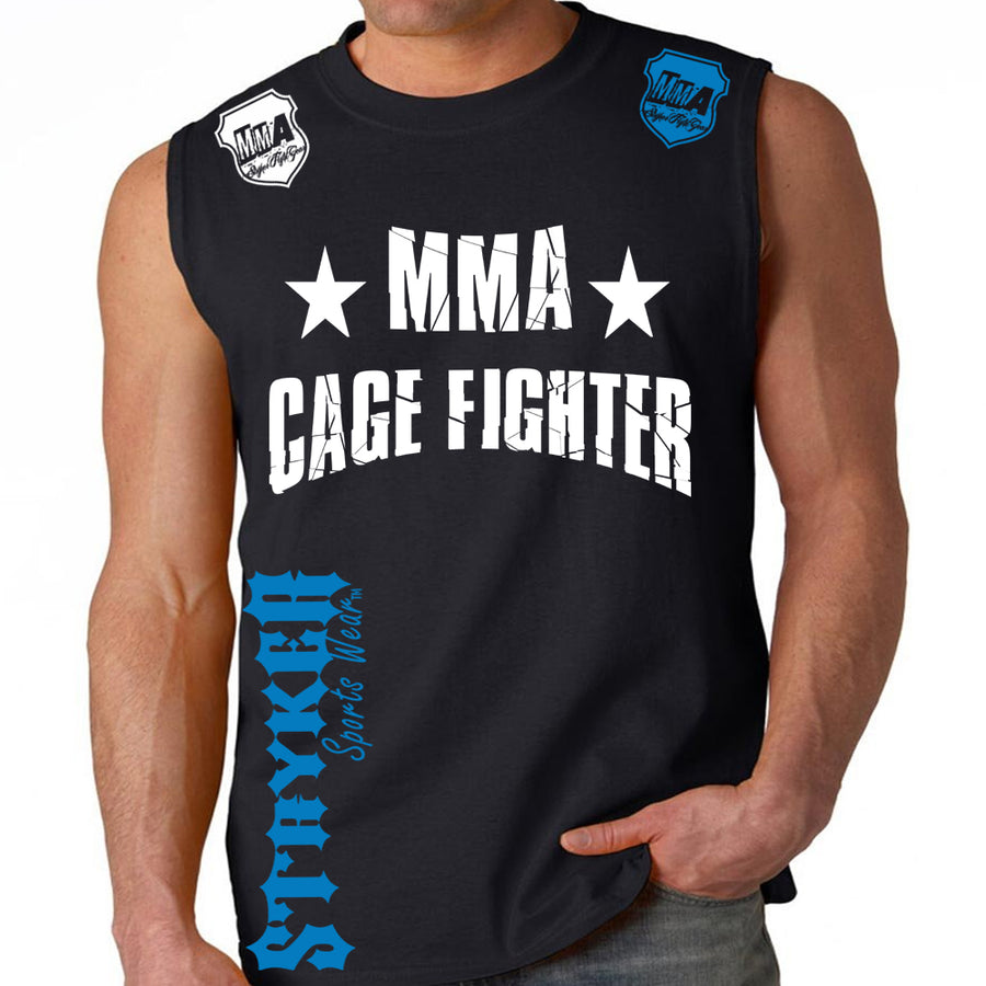 UFC MMA CAGE FIGHTER MENS MUSCLE SHIRT BLACK WHITE BLUE LOGO