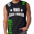 UFC MMA CAGE FIGHTER MENS MUSCLE SHIRT BLACK WHITE GREEN LOGO