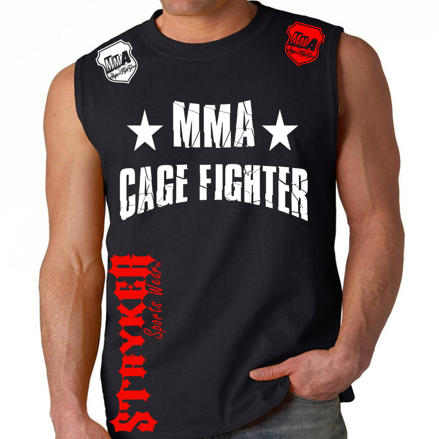 UFC MMA CAGE FIGHTER MENS MUSCLE SHIRT BLACK WHITE RED LOGO