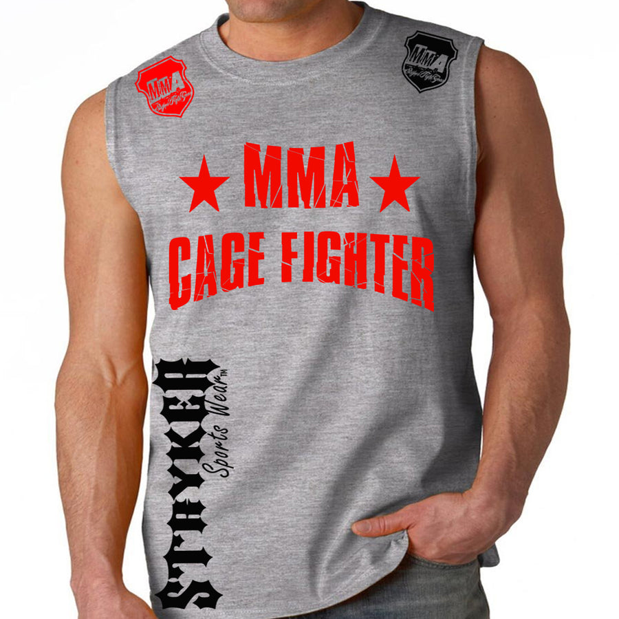 UFC MMA CAGE FIGHTER MENS MUSCLE SHIRT GRAY
