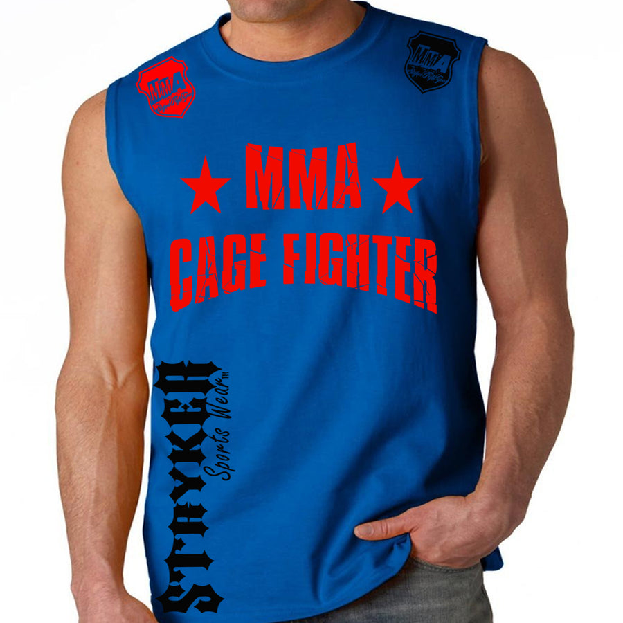 UFC MMA CAGE FIGHTER MENS MUSCLE SHIRT ROYAL BLUE