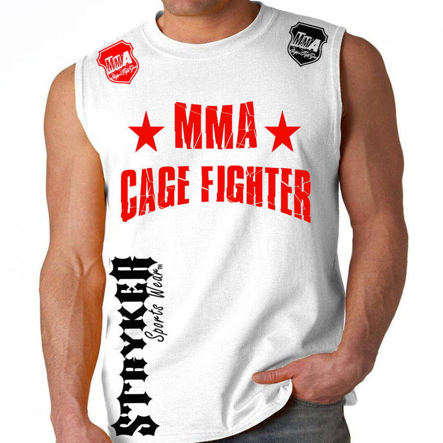UFC MMA CAGE FIGHTER MENS MUSCLE SHIRT WHITE