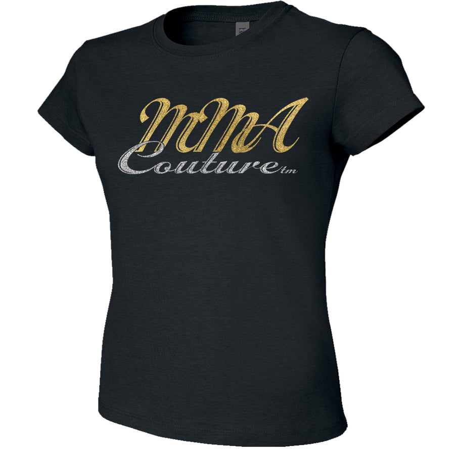 MMA COUTURE CURSIVE DESIGN GIRLS ADULT UFC CONCERT TEE BLACK SILVER GOLD LOGO