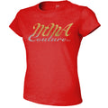 MMA COUTURE CURSIVE DESIGN GIRLS ADULT UFC CONCERT TEE RED