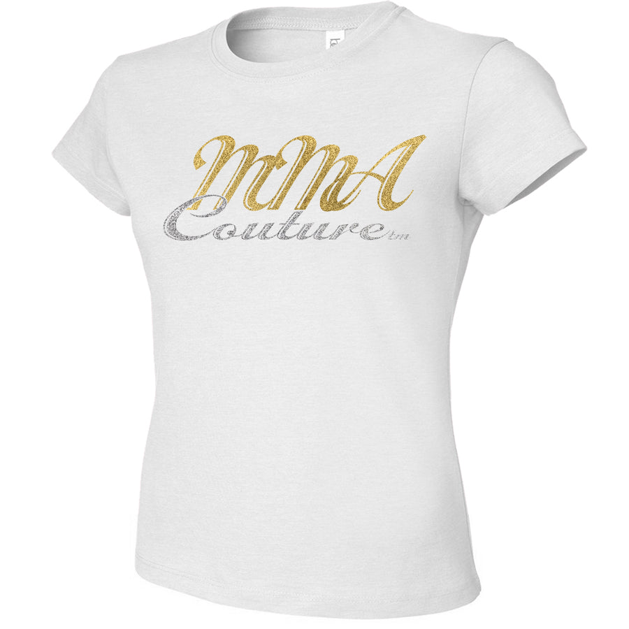 MMA COUTURE CURSIVE DESIGN GIRLS ADULT UFC CONCERT TEE WHITE SILVER GOLD LOGO