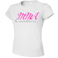 MMA COUTURE CURSIVE DESIGN GIRLS ADULT UFC CONCERT TEE WHITE SILVER PINK LOGO