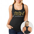 MMA COUTURE ELEGANT DESIGN GIRLS RAZOR BACK TANK TOP BLACK