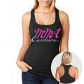 MMA COUTURE ELEGANT DESIGN GIRLS RAZOR BACK TANK TOP BLACK PINK LOGO