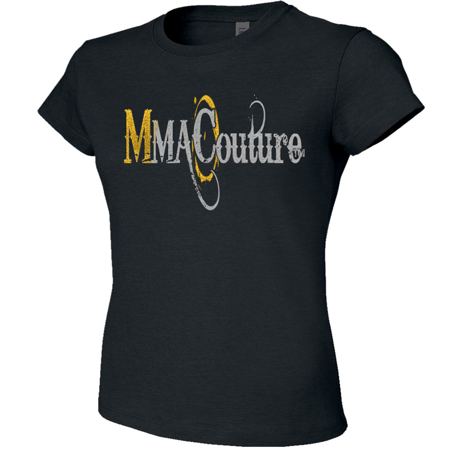 MMA COUTURE OC DESIGN GIRLS ADULT UFC CONCERT TEE BLACK SILVER GOLD LOGOS