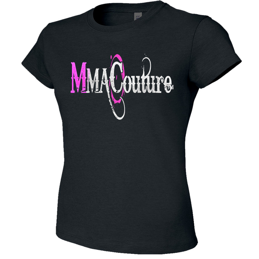 MMA COUTURE OC DESIGN GIRLS ADULT UFC CONCERT TEE BLACK SILVER PINK LOGO