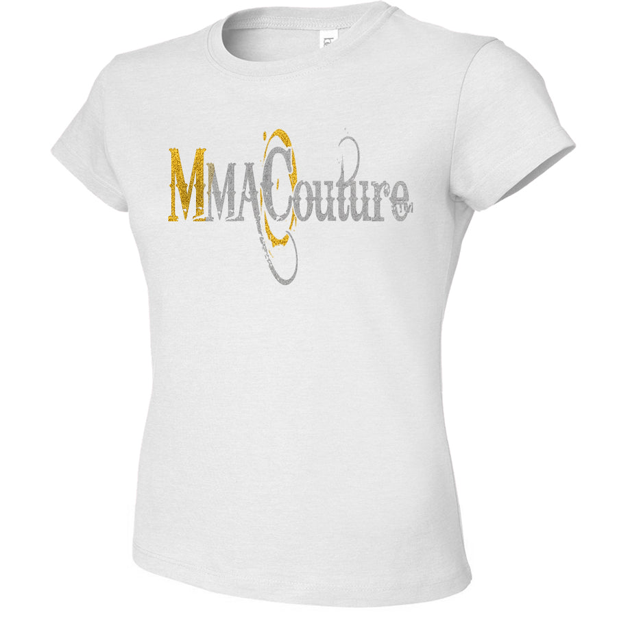 MMA COUTURE OC DESIGN GIRLS ADULT UFC CONCERT TEE WHITE SILVER GOLD LOGOS