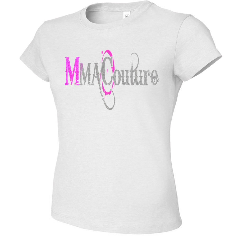 MMA COUTURE OC DESIGN GIRLS ADULT UFC CONCERT TEE WHITE SILVER PINK LOGOS