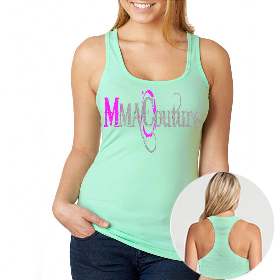MMA COUTURE O DESIGN GIRLS RAZOR BACK TANK TOP MINT GREEN