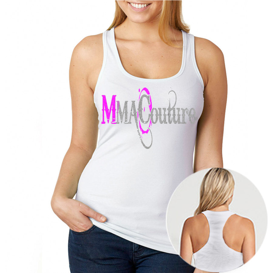 MMA COUTURE O DESIGN GIRLS RAZOR BACK TANK TOP WHITE