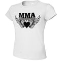 MMA COUTURE WINGS OF HEARTS GIRLS ADULT UFC CONCERT TEE WHITE SILVER AND BLACK LOGO