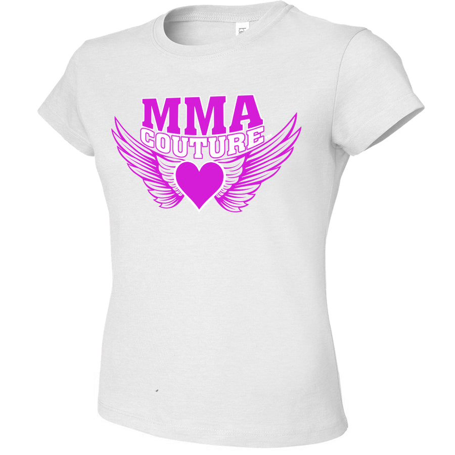 MMA COUTURE WINGS OF HEARTS GIRLS ADULT UFC CONCERT TEE SILVER PINK LOGO
