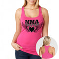 MMA COUTURE WINGS OF HEARTS GIRLS RAZOR BACK TANK TOP PINK SILVER & BLACK LOGO