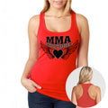 MMA COUTURE WINGS OF HEARTS GIRLS RAZOR BACK TANK TOP RED SILVER & BLACK DESIGN