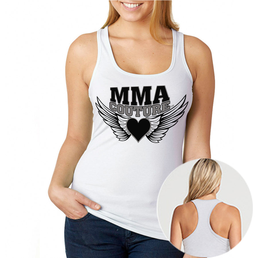 MMA COUTURE WINGS OF HEARTS GIRLS RAZOR BACK TANK TOP WHITE SILVER AND BLACK LOGO