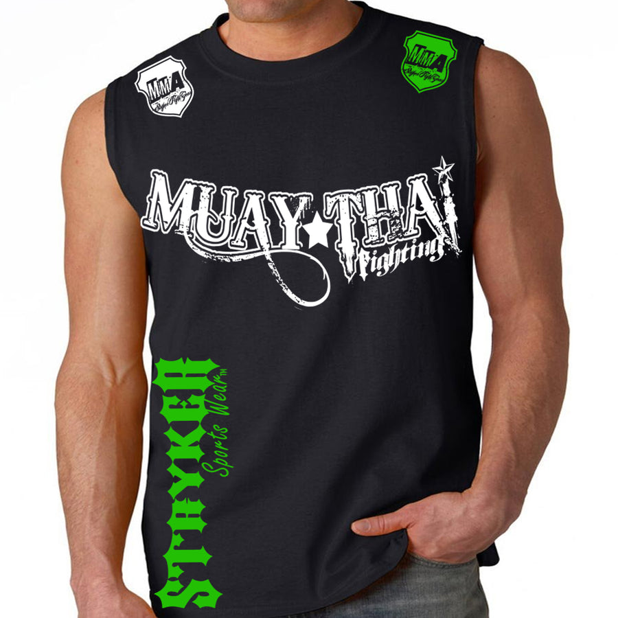 MUAY THAI FIGHTING STRYKER MMA MENS MUSCLE SHIRT BLACK