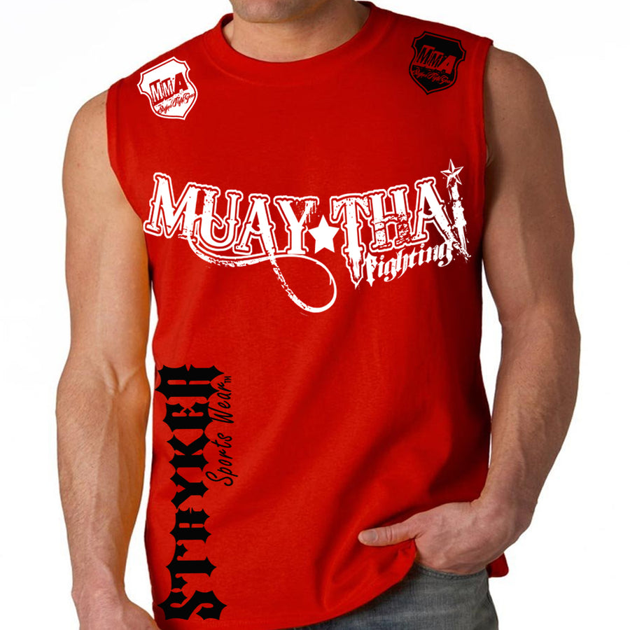 MUAY THAI FIGHTING STRYKER MMA MENS MUSCLE SHIRT RED