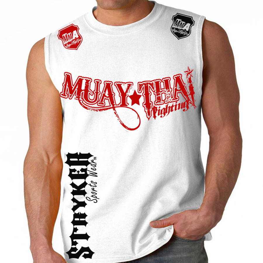 MUAY THAI FIGHTING STRYKER MMA MENS MUSCLE SHIRT WHITE