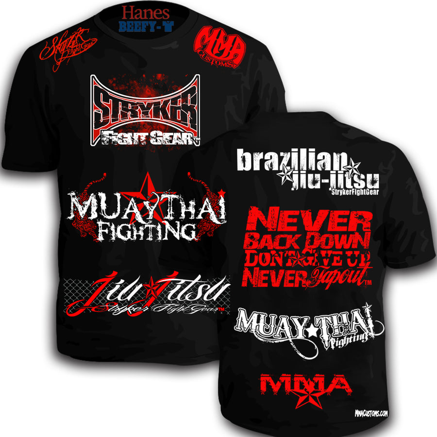 STRYKER MMACUSTOMS MMA WALKOUT NEVER TAPOUT UFC SHIRT BLACK RED WHITE LOGOS