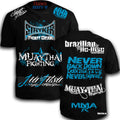 STRYKER MMACUSTOMS MMA WALKOUT NEVER TAPOUT UFC SHIRT BLACK WHITE BLUE LOGOS
