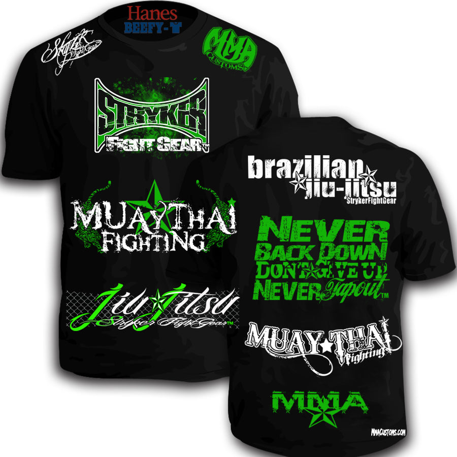 STRYKER MMACUSTOMS MMA WALKOUT NEVER TAPOUT UFC SHIRT BLACK GREEN WHITE LOGOS