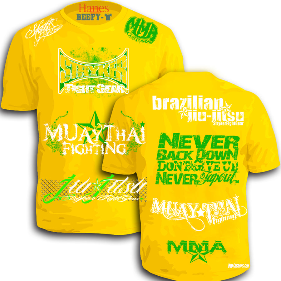STRYKER MMACUSTOMS MMA WALKOUT NEVER TAPOUT UFC SHIRT YELLOW