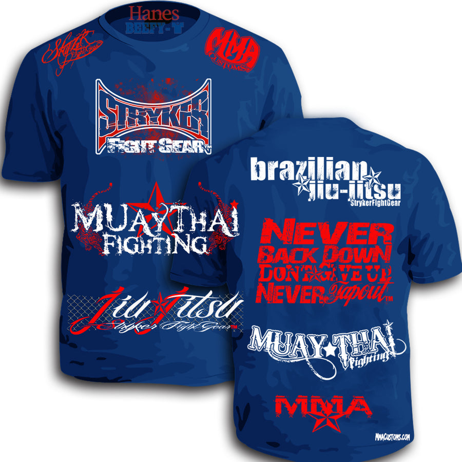 STRYKER MMACUSTOMS MMA WALKOUT NEVER TAPOUT UFC SHIRT ROYAL BLUE