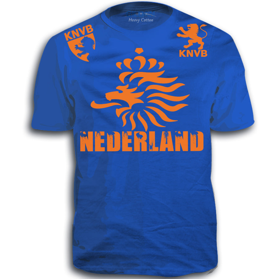 NEDERLAND ADULT FIFA WORLD CUP SOCCER FLAG T-SHIRT ROYAL BLUE