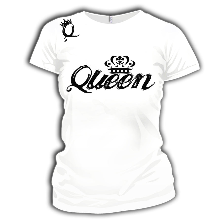 QUEEN WOMENS ADULT FUNNY T-SHIRT WHITE