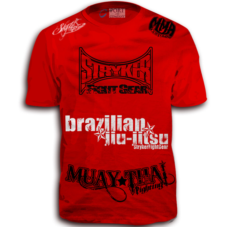 STRYKER FIGHT GEAR BLOOD SPLAT MMA UFC WALKOUT SHIRT RED