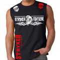 STRYKER FIGHT GEAR DEAD MANS SKULL MMA FIGHTERS MUSCLE SHIRT BLACK RED WHITE LOGOS