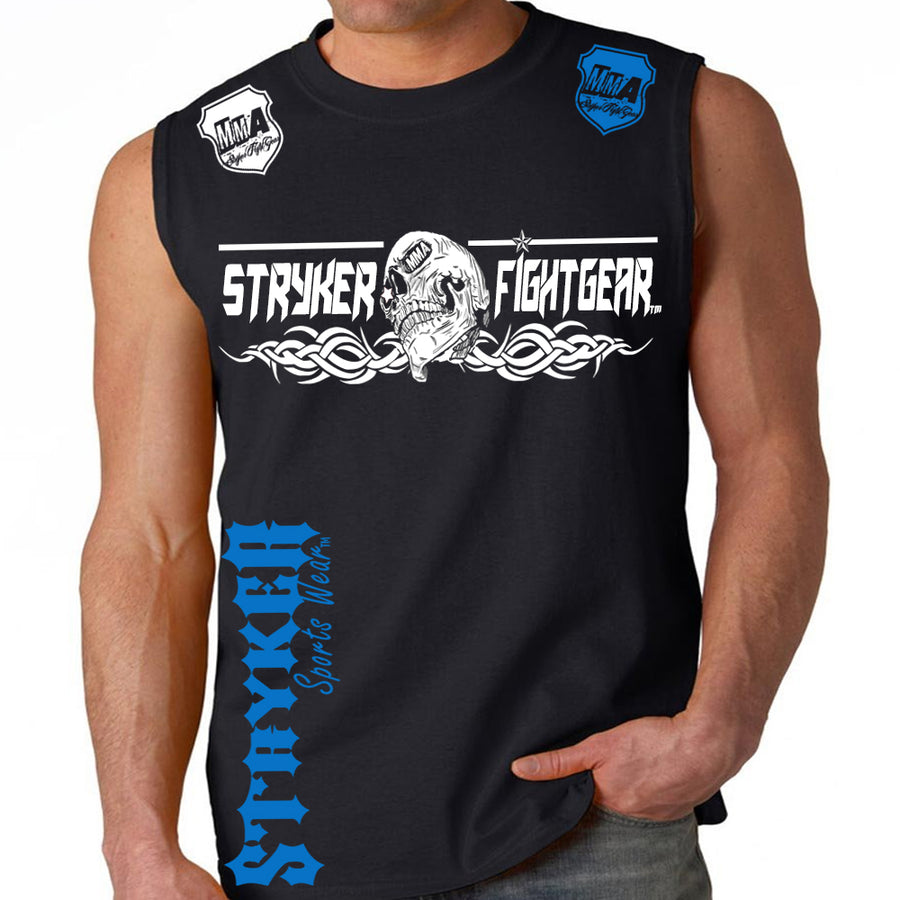 STRYKER FIGHT GEAR DEAD MANS SKULL MMA FIGHTERS MUSCLE SHIRT BLACK BLUE LOGOS