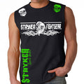 STRYKER FIGHT GEAR DEAD MANS SKULL MMA FIGHTERS MUSCLE SHIRT BLACK GREEN WHITE LOGOS