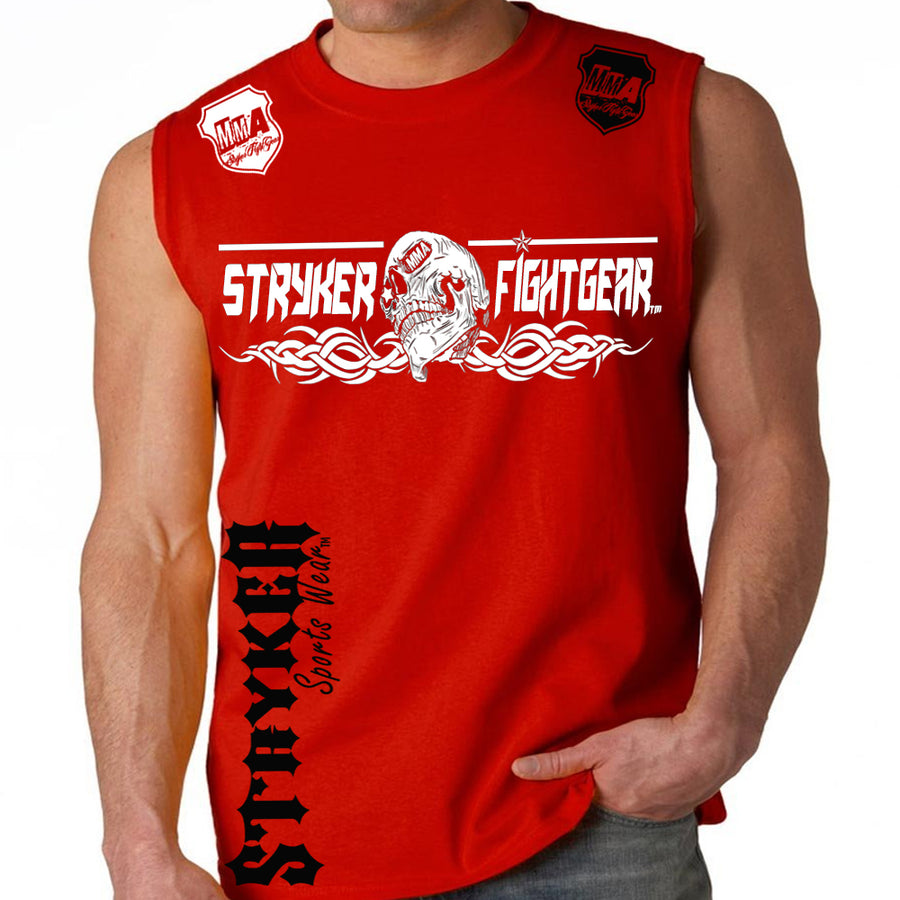 STRYKER FIGHT GEAR DEAD MANS SKULL MMA FIGHTERS MUSCLE SHIRT RED