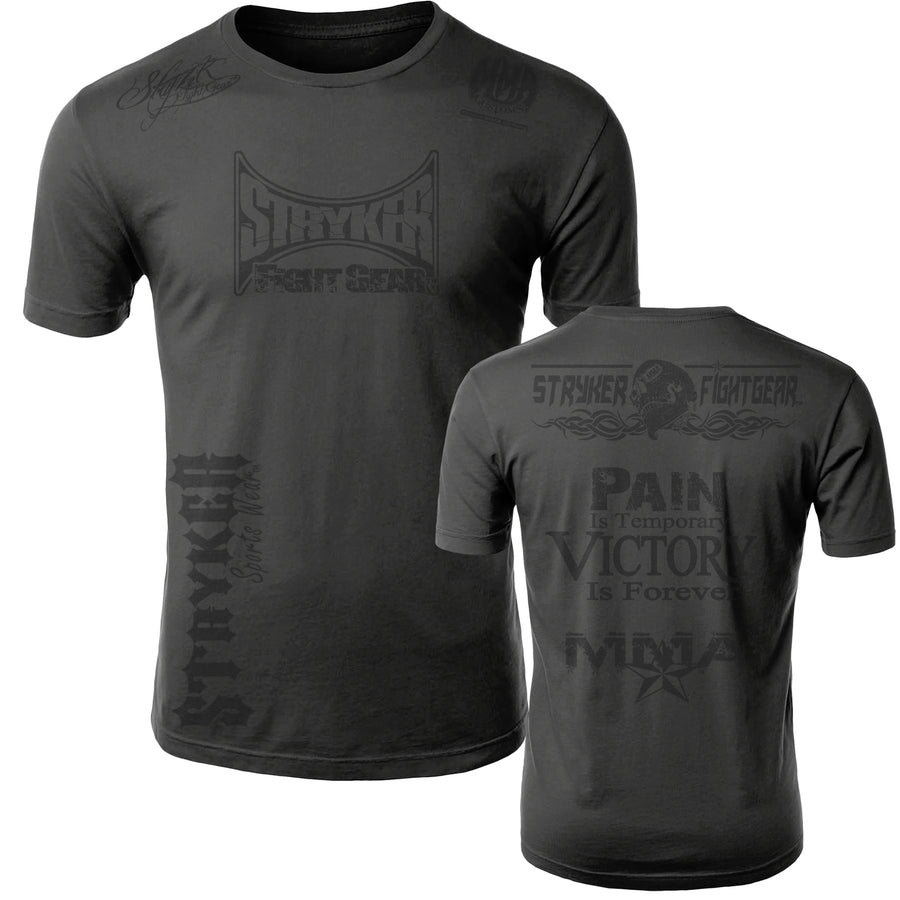 STRYKER STRYKER FIGHT GEAR SKULL BACK PAIN IS TEMPORARY VICTORY IS FOREVER ADULT MMA UFC T-SHIRT GRAY