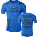 STRYKER STRYKER FIGHT GEAR SKULL BACK PAIN IS TEMPORARY VICTORY IS FOREVER ADULT MMA UFC T-SHIRT ROYAL