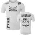STRYKER STRYKER FIGHT GEAR SKULL BACK PAIN IS TEMPORARY VICTORY IS FOREVER ADULT MMA UFC T-SHIRT WHITE
