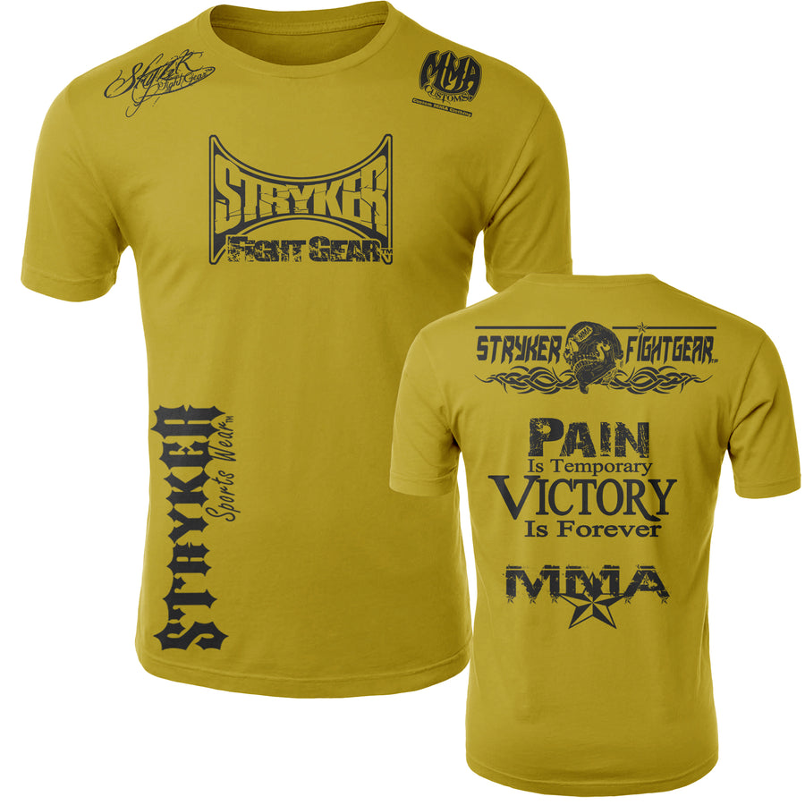 STRYKER STRYKER FIGHT GEAR SKULL BACK PAIN IS TEMPORARY VICTORY IS FOREVER ADULT MMA UFC T-SHIRT YELLOW