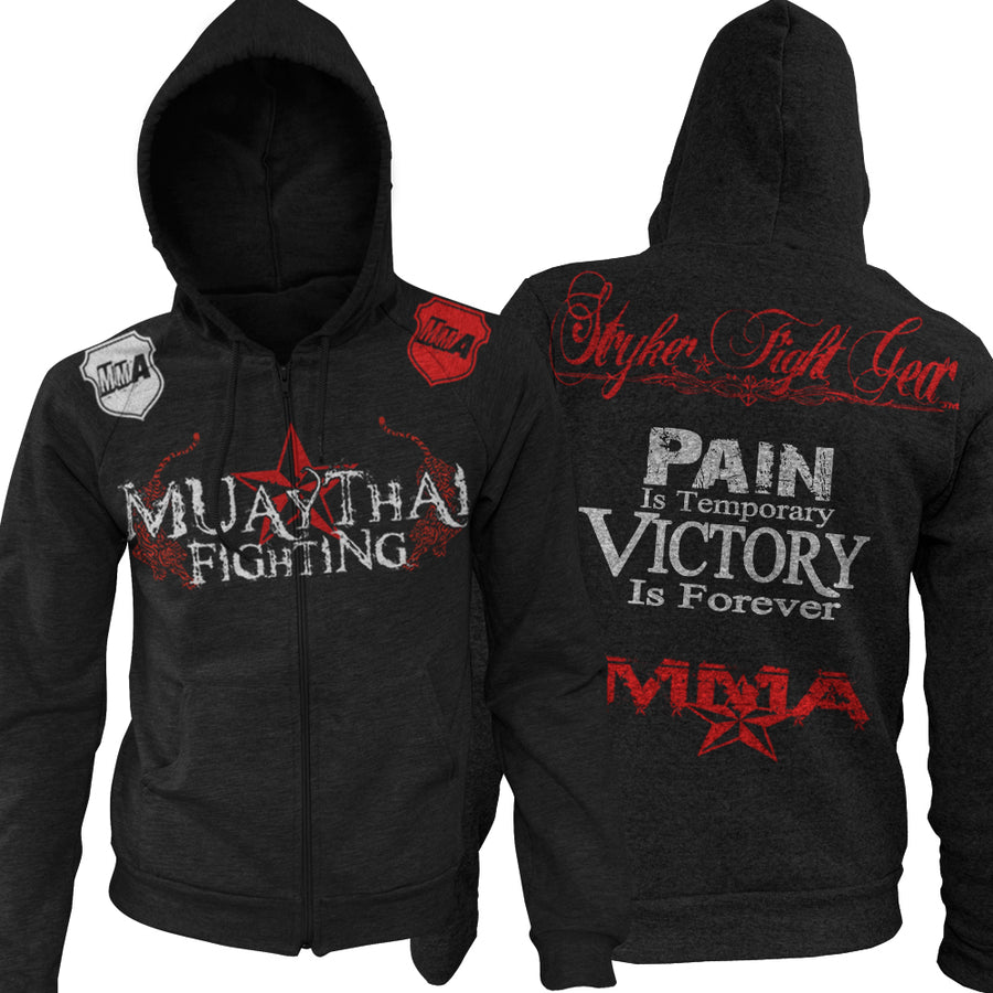 MUAY THAI FIGHTING PAIN IS TEMPORARY VICTORY IS FOREVER UFC MMA ZIP UP HOODIE BLACK
