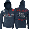 MUAY THAI FIGHTING PAIN IS TEMPORARY VICTORY IS FOREVER UFC MMA ZIP UP HOODIE NAVY