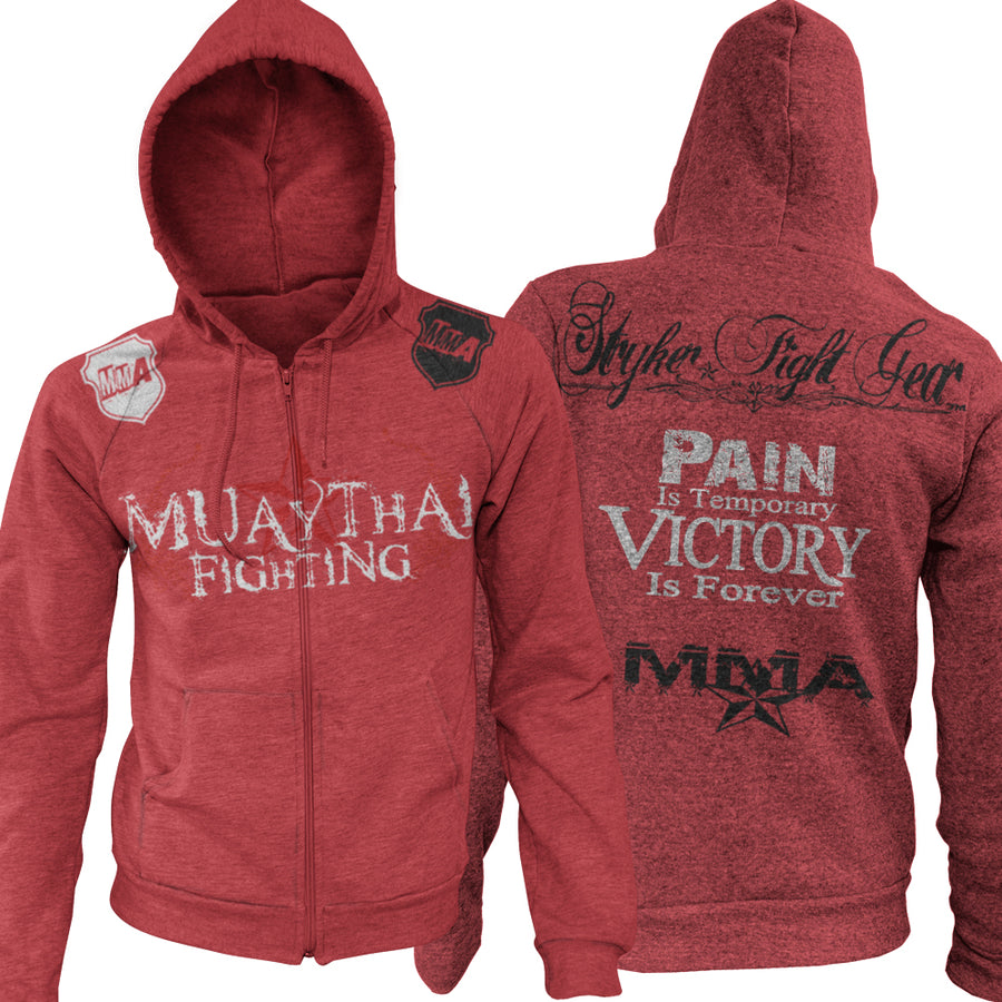 MUAY THAI FIGHTING PAIN IS TEMPORARY VICTORY IS FOREVER UFC MMA ZIP UP HOODIE RED
