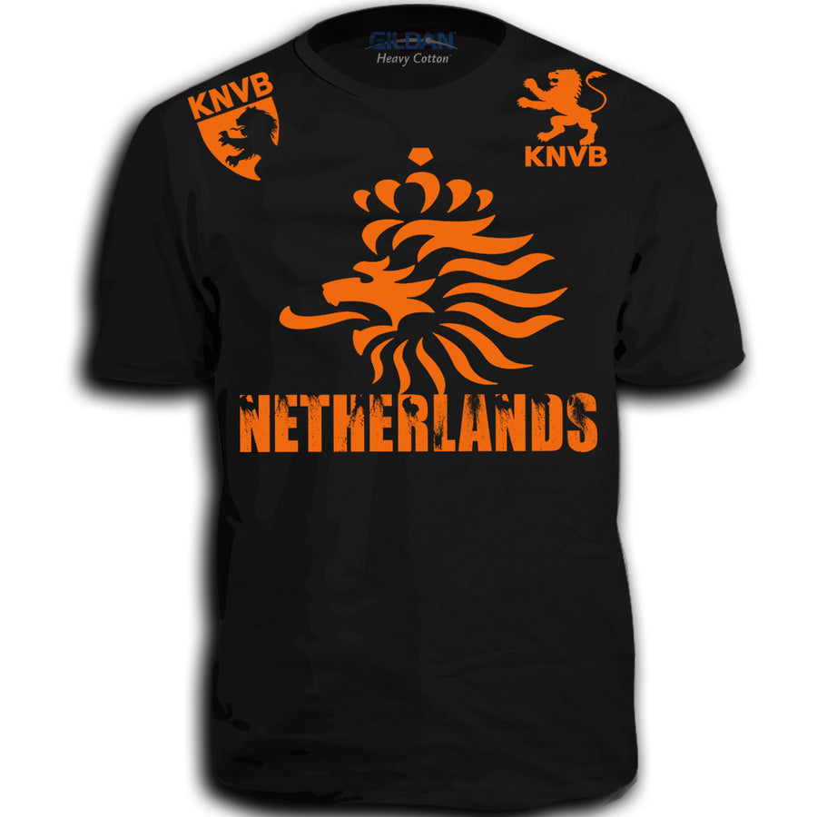THE NETHERLANDS FIFA WORLD CUP ADULT SOCCER FLAG T-SHIRT BLACK