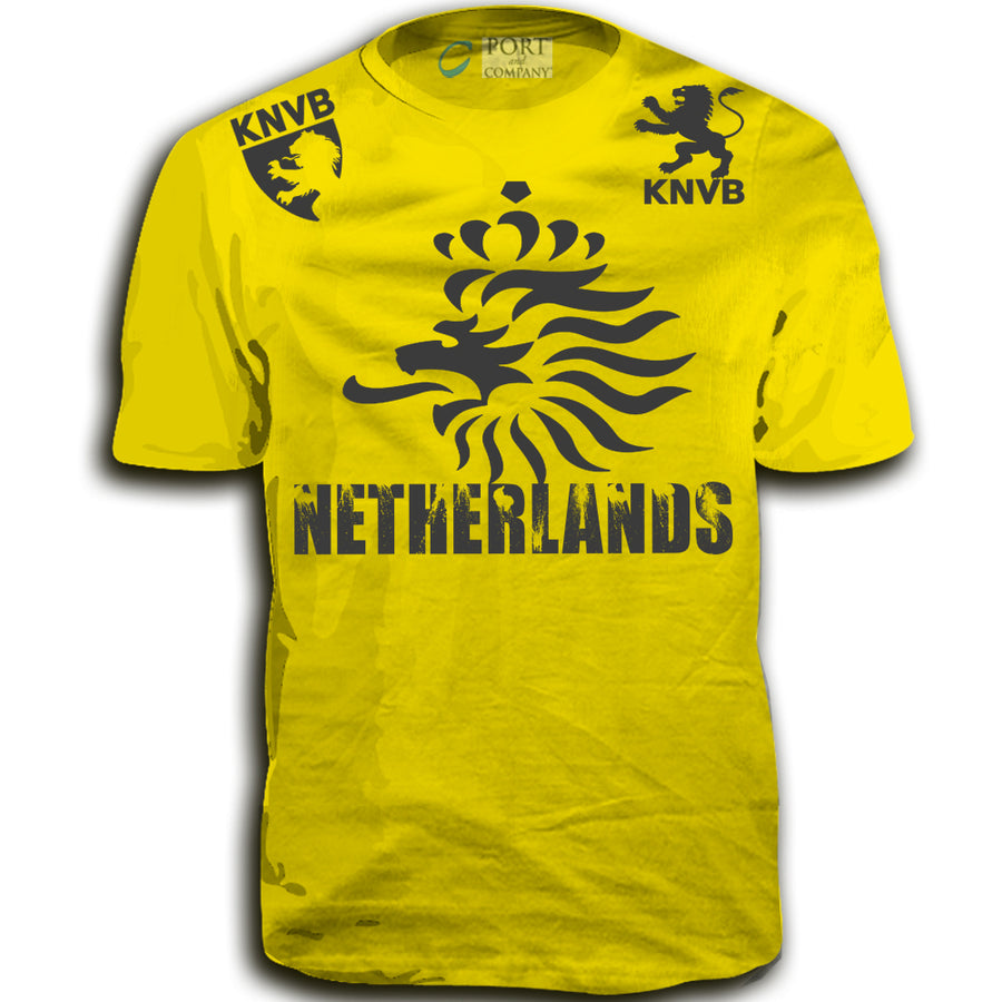 THE NETHERLANDS FIFA WORLD CUP ADULT SOCCER FLAG T-SHIRT YELLOW TOP